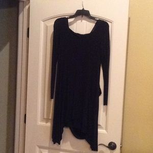 Kensie black dress with an attached drape